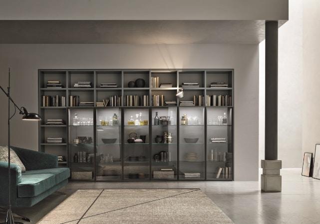 Bibliothèque salon design grise vitré - ÉMÉA Ancenis