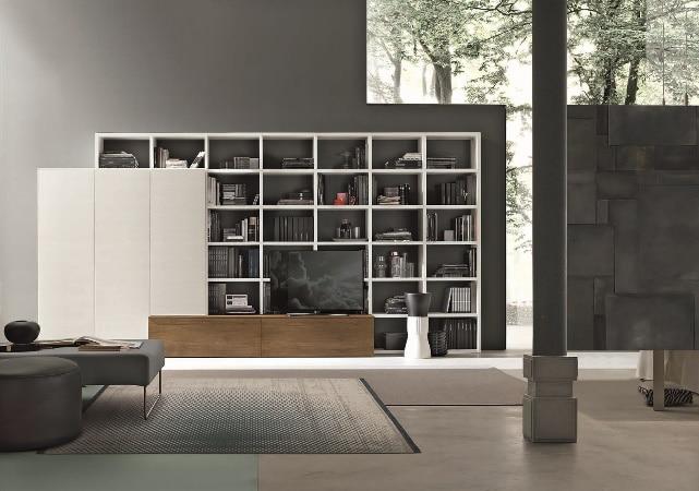 Bibliothèque salon sur mesure blanche et bois - ÉMÉA Ancenis