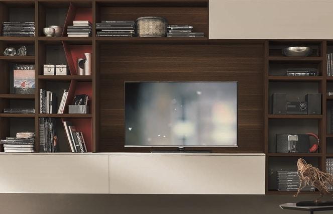 Meuble TV sur mesure moderne classique bois et blanc - ÉMÉA Ancenis Ameublement