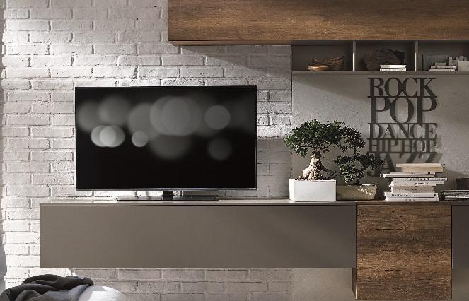 Meuble TV suspendu gris - ÉMÉA Ancenis Ameublement