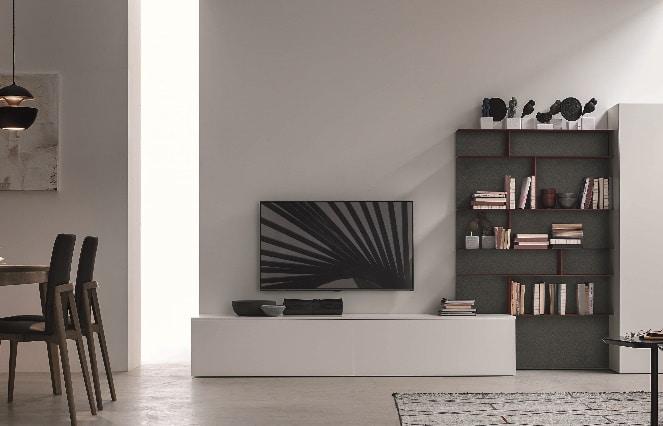 Meuble TV moderne blanc bas - ÉMÉA Ancenis Ameublement