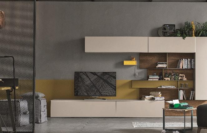 Meuble TV bas et étagère moderne beige - ÉMÉA Ancenis Ameublement