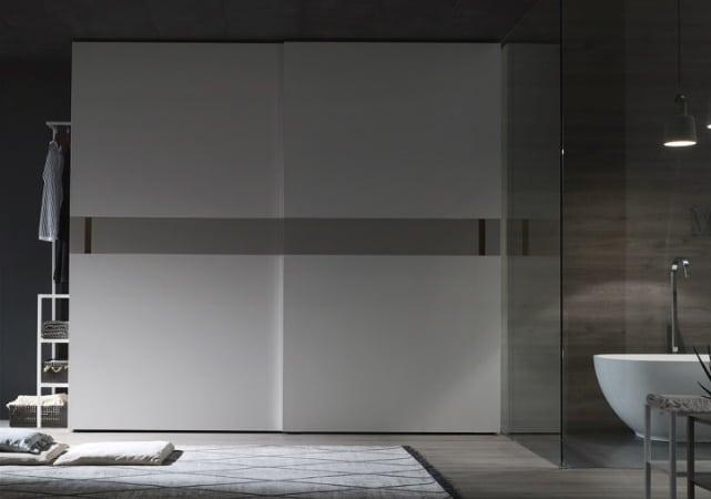 Porte de placard sur mesure salle de bain design blanc et gris - ÉMÉA Ancenis