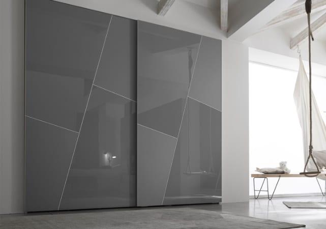 Porte de placard coulissante salon design gris - ÉMÉA Ancenis