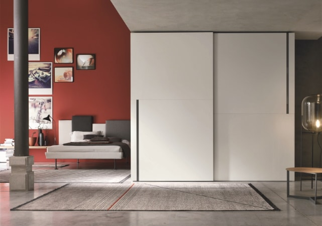 Porte de placard coulissante salon design blanc et grise - ÉMÉA Ancenis