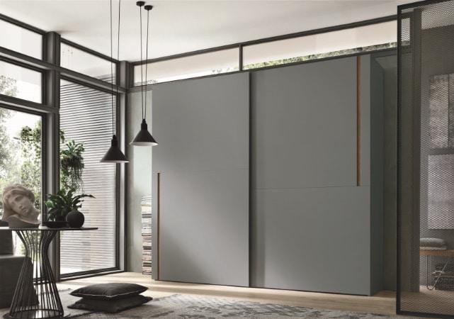 Porte de placard coulissante bibliothèque design gris mat - ÉMÉA Ancenis